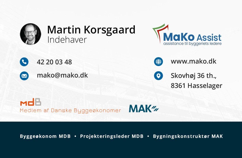 Visitkort for Martin Korsgaard